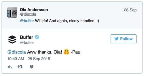 Tweet från Buffer-Paul