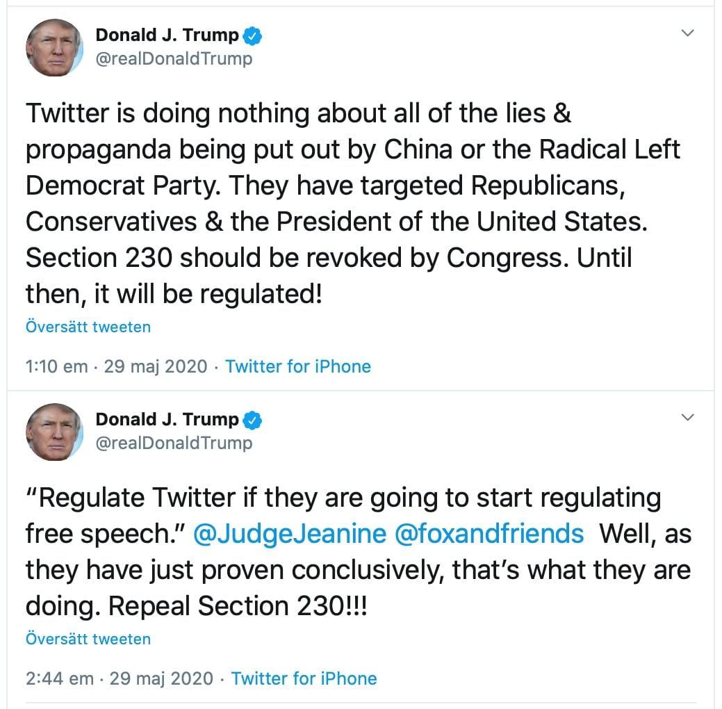 Tweets från Donald Trump där han uppmanar till att Section 230 ska rivas upp