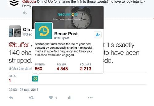 Recur Posts Twittersida