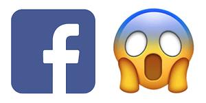 Bild med Facebook-loggan tillsammans med förskräckt emoji