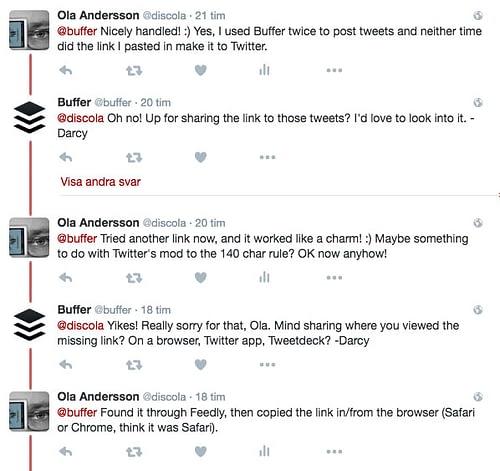 Twitterdialog med Buffer