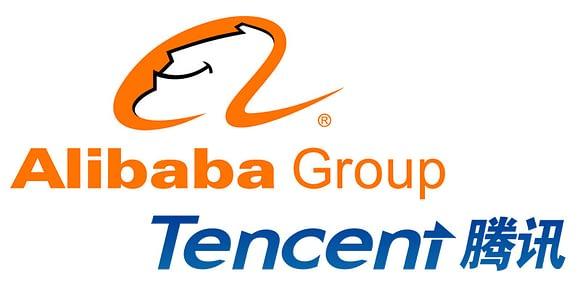 Alibabas och Tencents logotyper