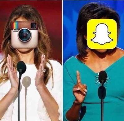 Meme Melania Trump och Michelle Obama