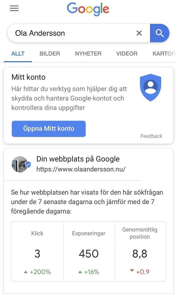 Search console-information direkt i Googles sökresultat