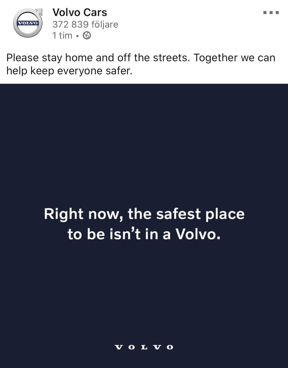 "LinkedIn-inlägg från Volvo som säger ""Right now, the safest place to be isn't in a Volvo."