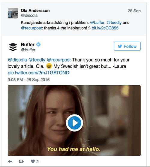 Tweet från Buffer-Laura
