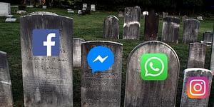 Gravstenar med logotyperna för Facebooks appar