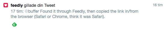 Tweet från Feedly